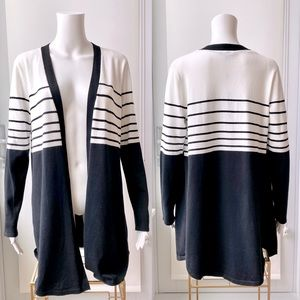 Black and White Striped Open Cardigan